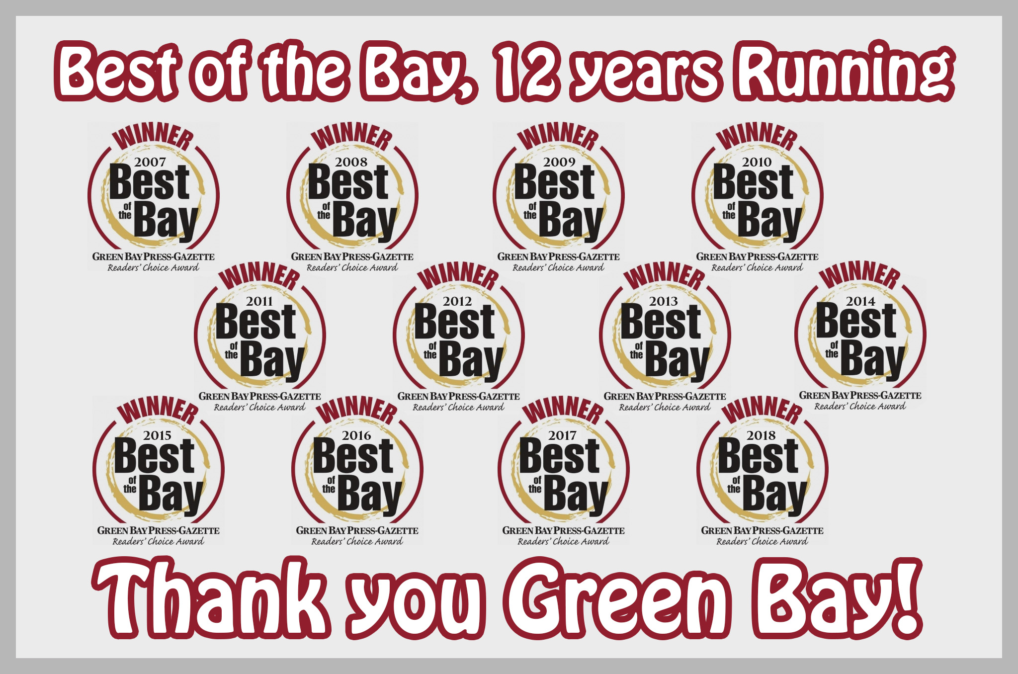 Award Winning - Best of the Bay, 10 years running